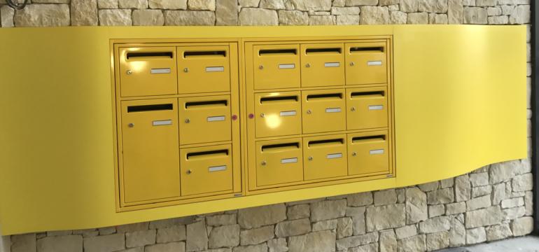 Boites aux lettres collectives acier entrée d'immeuble