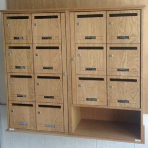 Boite aux lettres collectives en chêne bois pour intérieur