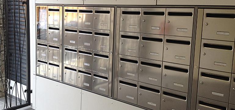 Boites aux lettres collectives en inox pour hall d'immeuble